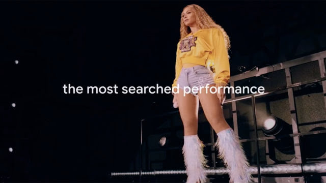 Beyoncé is shown performing at Coachella 2018 with the words The Most Searched Performance' written on screen